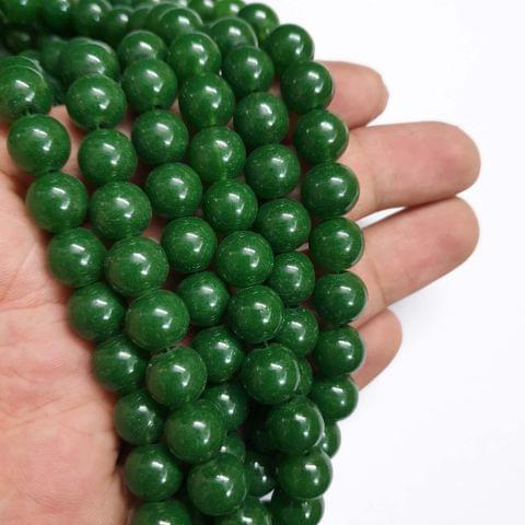 Green Round Shape Glass Pearl Beads, 80+ beads in each strand, 32-34 Inches, 4 Lines, 10mm