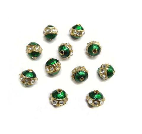 Meenakari Kundan Work Beads for Jewellery Making, 5 pcs, 10mm