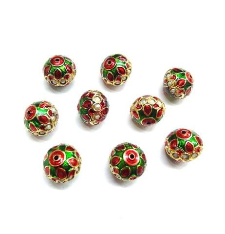 Moti Jadau Meenakari Beads for Jewellery Making - Pack of 2 Pcs, 12x13 mm