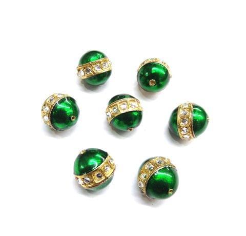 Green Meenakari Kundan Work Beads for Jewellery Making, 5 pcs, 17mm
