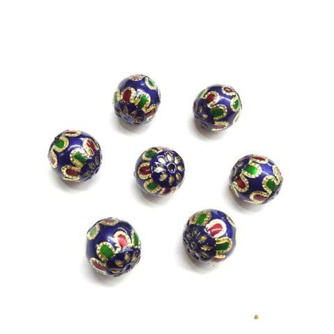 Blue Meenakari Beads for Jewellery Making, 5pcs, 13x13mm