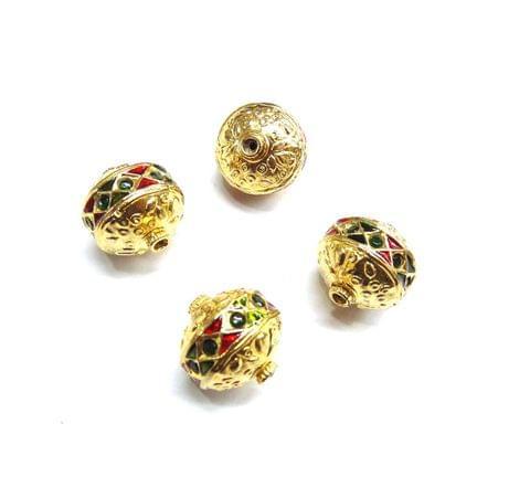 Green Jadau Meenakari Golden Beads For Jewellery Making, 4pcs, 18mm