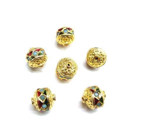 Blue Jadau Meenakari Golden Beads For Jewellery Making, 5pcs, 12mm