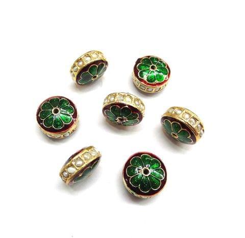 Moti Jadau Meenakari Golden Beads For Jewellery Making, 10pcs, 9x15mm