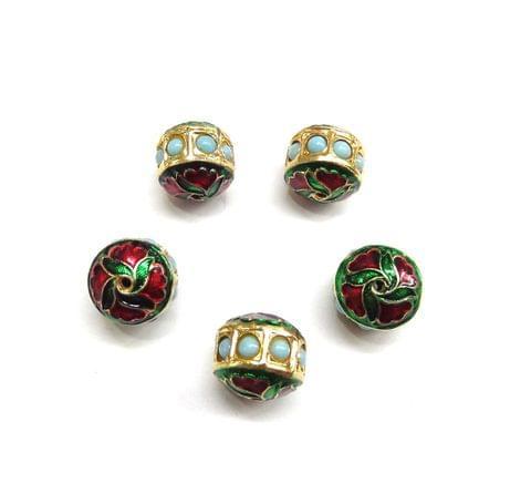 Turquoise Jadau Meenakari Golden Beads For Jewellery Making, 5pcs, 13x14mm