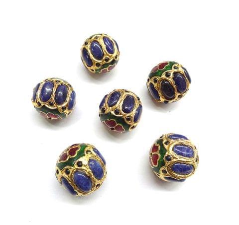 Blue Jadau Meenakari Round Beads For Jewellery Making, 4pcs, 21mm