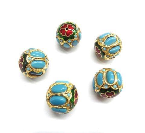 Turquoise Jadau Meenakari Round Beads For Jewellery Making, 4pcs, 21mm