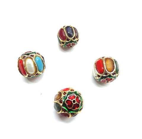 Navratan Jadau Meenakari Round Beads For Jewellery Making, 2pcs, 17mm
