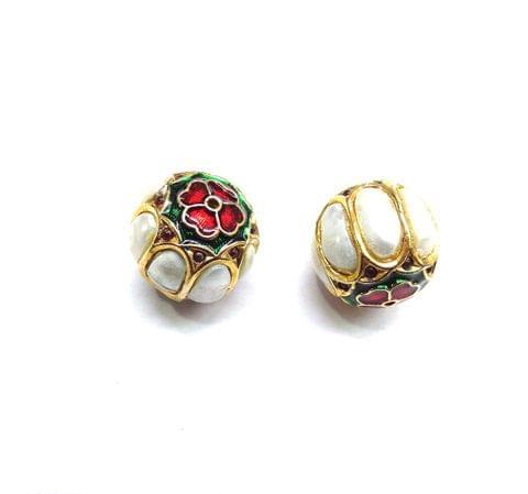 Moti Jadau Meenakari Round Beads For Jewellery Making, 2pcs, 17mm