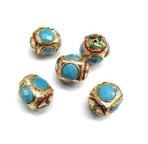 Turquoise Jadau Meenakari Beads For Jewellery Making, 4pcs, 22x18mm