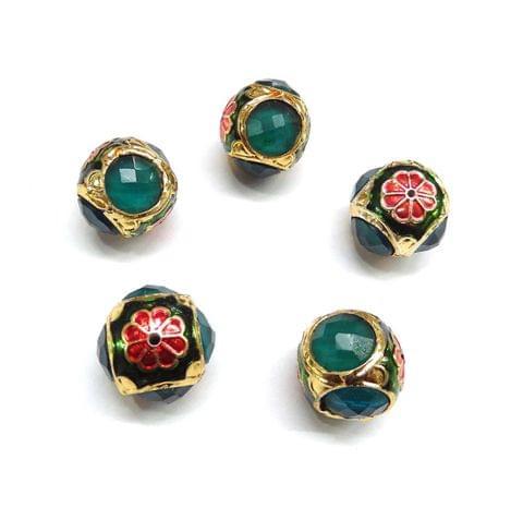 Green Jadau Meenakari Round Beads For Jewellery Making, 5pcs, 17x18mm