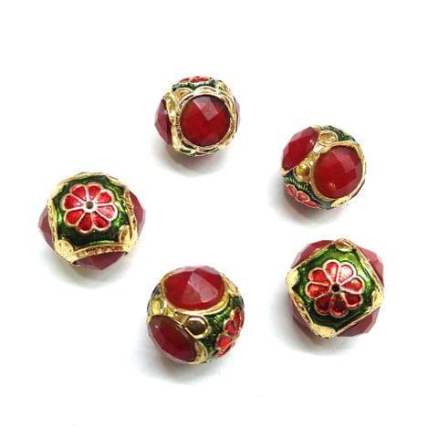Red Jadau Meenakari Round Beads For Jewellery Making, 5pcs, 17x18mm