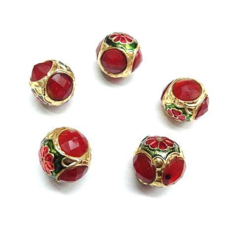 Red Jadau Meenakari Round Beads For Jewellery Making, 5pcs, 17x19 mm