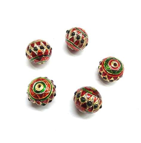 Green Jadau Meenakari Beads For Jewellery Making, 6pcs, 14x15mm