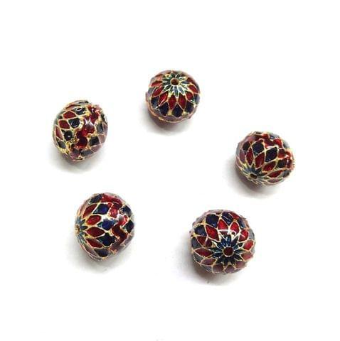 Designer Multi Meenakari Beads For Jewellery Making, 6pcs, 12x13mm