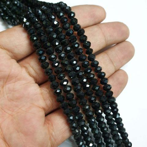 Black Faceted Rondelle Shape Glass Beads, 95+ beads in each strand, 16-17 Inches, 6 Lines, 6mm