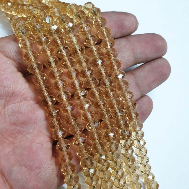 Light Golden Faceted Rondelle Shape Glass Beads, 70+ beads in each strand, 16-17 Inches, 5 Lines, 8mm