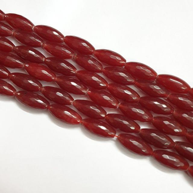 Drum Barrel Maroon Faceted Natural Onyx Strand, 16+ beads, 13-14 inch, 1 line, 22x10mm