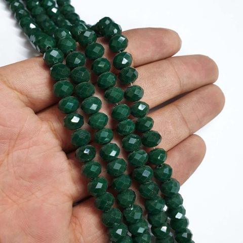 Opaque Green Faceted Rondelle Shape Glass Beads, 70+ beads in each strand, 16-17 Inches, 5 Lines, 8mm