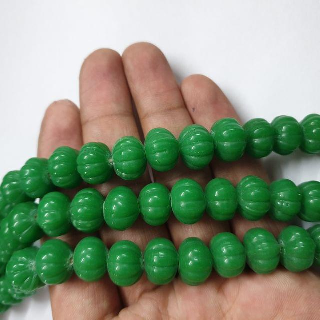 Green Pumpkin Shape Jade Strand, 30+ beads, 12-13 inch, 2 line, 12x10mm