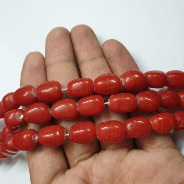 Red Tumble Shape Jade Strand, 20+ beads, 12-13 inch, 2 line, 14x10mm