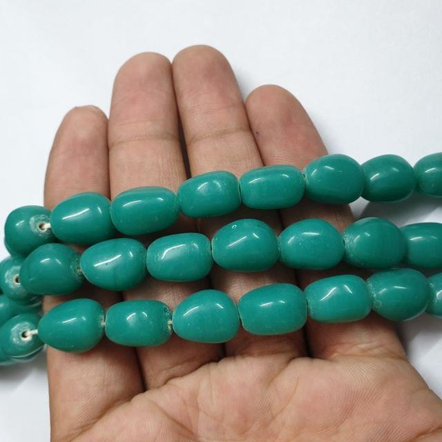 Sea Green Tumble Shape Jade Strand, 20+ beads, 12-13 inch, 2 line, 14x10mm