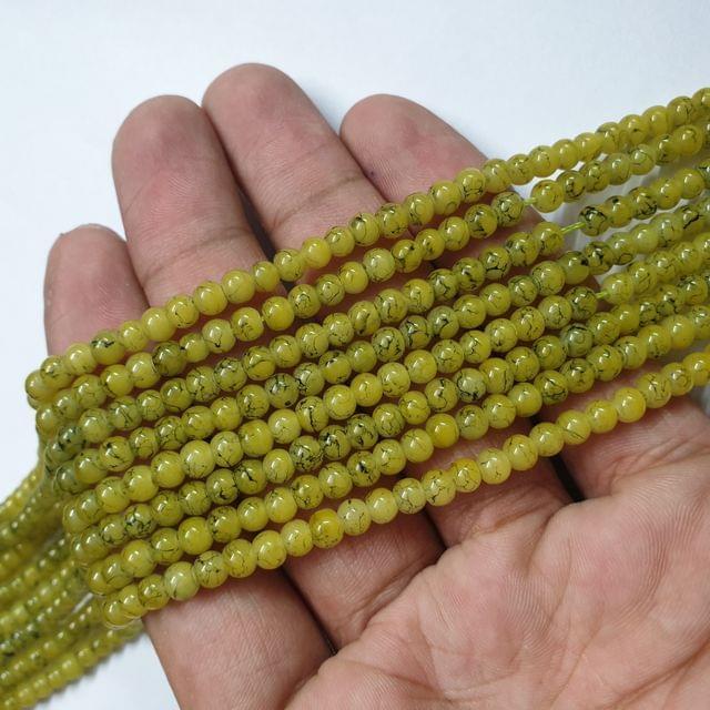 Yellow Designer Round Shape Glass Beads Strand, 105+ beads, 16-17 inch, 4 line, 4mm