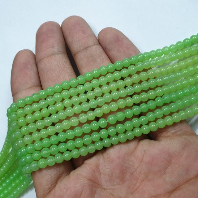 Light Green Round Shape Glass Beads Strand, 105+ beads, 16-17 inch, 4 line, 4mm