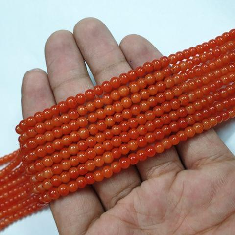 Orange Round Shape Glass Beads Strand, 105+ beads, 16-17 inch, 4 line, 4mm