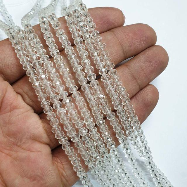 White Faceted Rondelle Shape Glass Beads, 135+ beads in each strand, 16-17 Inches, 6 Lines, 4mm