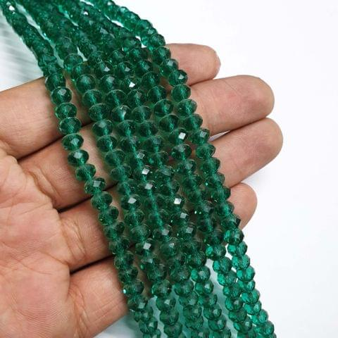 Green Faceted Rondelle Shape Glass Beads, 95+ beads in each strand, 16-17 Inches, 6 Lines, 6mm