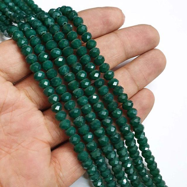 Opaque Green Faceted Rondelle Shape Glass Beads, 95+ beads in each strand, 16-17 Inches, 6 Lines, 6mm