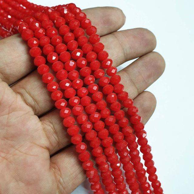 Moonga Faceted Rondelle Shape Glass Beads, 95+ beads in each strand, 16-17 Inches, 6 Lines, 6mm