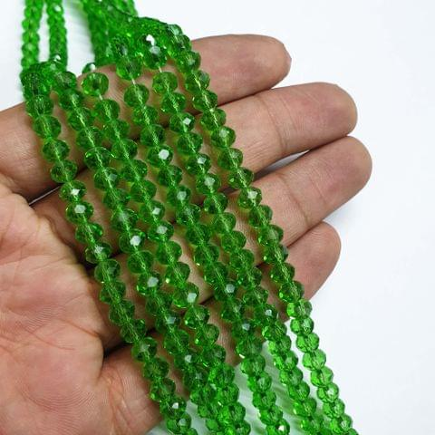 Light Green Faceted Rondelle Shape Glass Beads, 95+ beads in each strand, 16-17 Inches, 6 Lines, 6mm