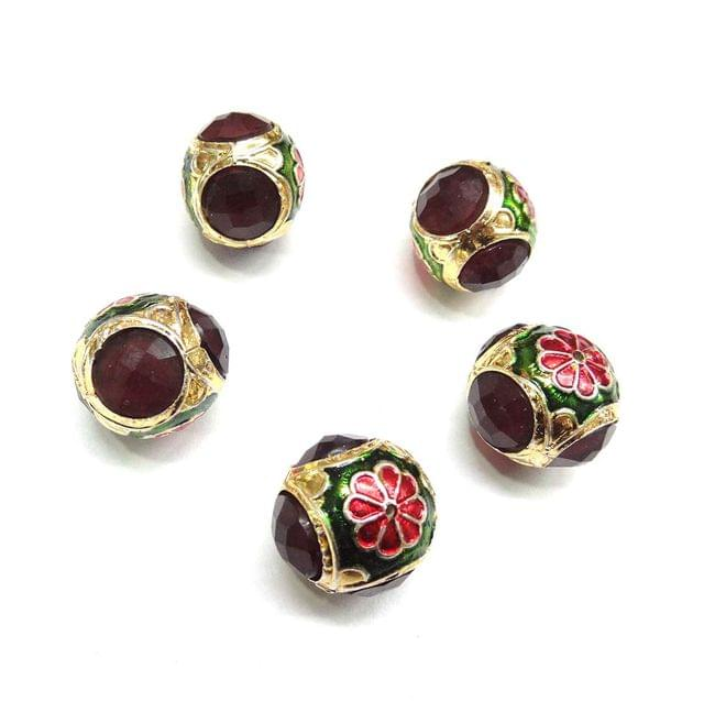 Brown Jadau Meenakari Round Beads For Jewellery Making, 5pcs, 16x19 mm