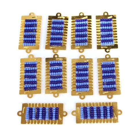 Gold Plated Miyuki Seed Beads Square Connector and Earrings Components Charms Blue 28x15mm, Pack Of 10 Pcs
