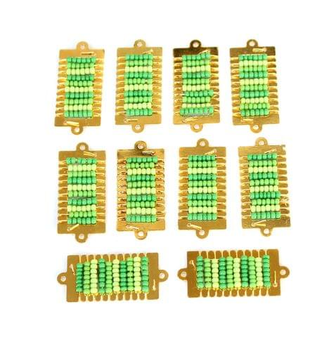 Gold Plated Miyuki Seed Beads Square Connector and Earrings Components Charms Green 28x15mm, Pack Of 10 Pcs