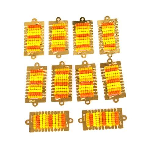 Gold Plated Miyuki Seed Beads Square Connector and Earrings Components Charms Yellow 28x15mm, Pack Of 10 Pcs