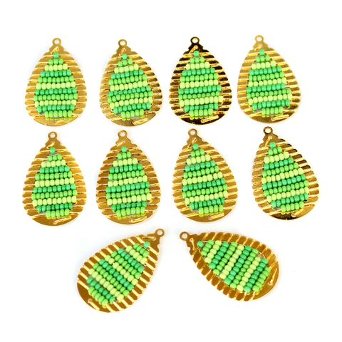 Gold Plated Miyuki Seed Beads Drop Earring Components Charms Green 28x15mm, Pack Of 10 Pcs