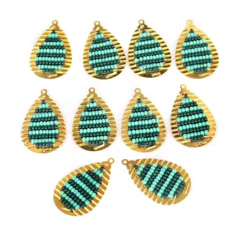 Gold Plated Miyuki Seed Beads Drop Earring Components Charms Teal 28x15mm, Pack Of 10 Pcs