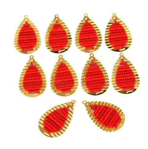 Gold Plated Miyuki Seed Beads Drop Earring Components Charms Red 28x15mm, Pack Of 10 Pcs