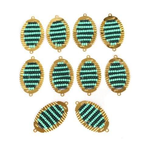 Gold Plated Miyuki Seed Beads Oval Connector and Earrings Components Charms Teal 28x15mm, Pack Of 10 Pcs