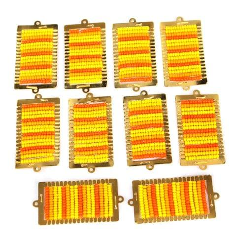 Gold Plated Miyuki Seed Beads Square Connector and Earrings Components Charms Yellow 42x19mm, Pack Of 10 Pcs