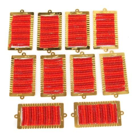 Gold Plated Miyuki Seed Beads Square Connector and Earrings Components Charms Red 42x19mm, Pack Of 10 Pcs