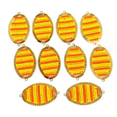 Gold Plated Miyuki Seed Beads Oval Connector and Earrings Components Charms Yellow 42x19mm, Pack Of 10 Pcs