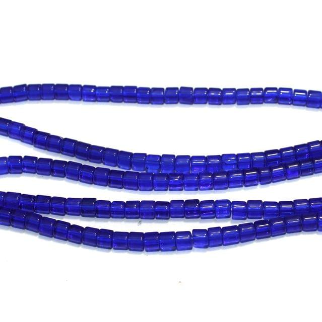 Glass Beads Tyre Blue 4mm, Pack Of 5 Strings
