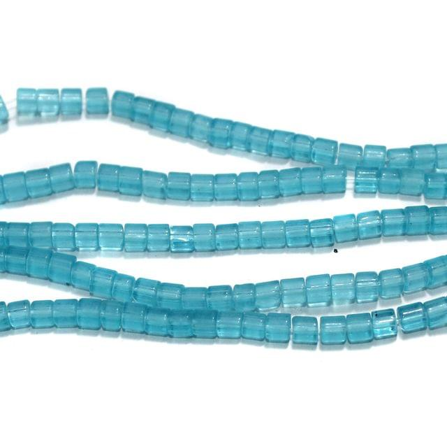 Glass Beads Tyre 4mm Turquoise, Pack Of 5 Strings