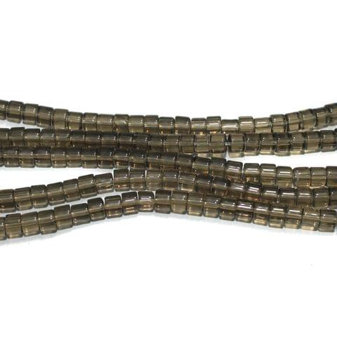 Glass Beads Tyre 4mm Grey, Pack Of 5 Strings