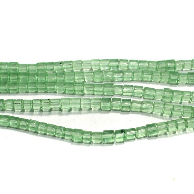 Glass Beads Tyre 4mm Light Green, Pack Of 5 Strings