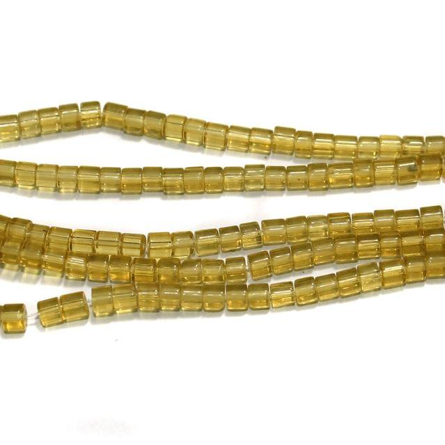 Glass Beads Tyre 4mm Light Yellow, Pack Of 5 Strings